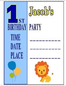 Boy's 1st Birthday Invites