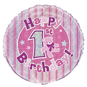 First Birthday Pink Balloon