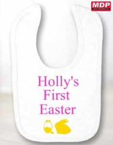 First Easter Baby Girl Bib