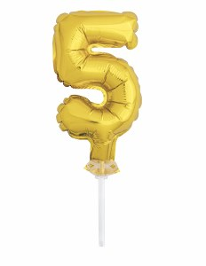 Gold 5 Foil Cake Topper