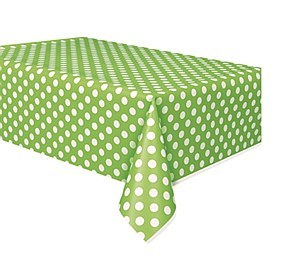 Green Dots Plastic Tablecover