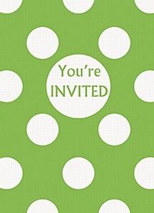Green Dots Party Invitations