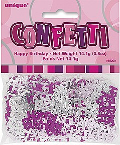 Happy Birthday Pink Confetti