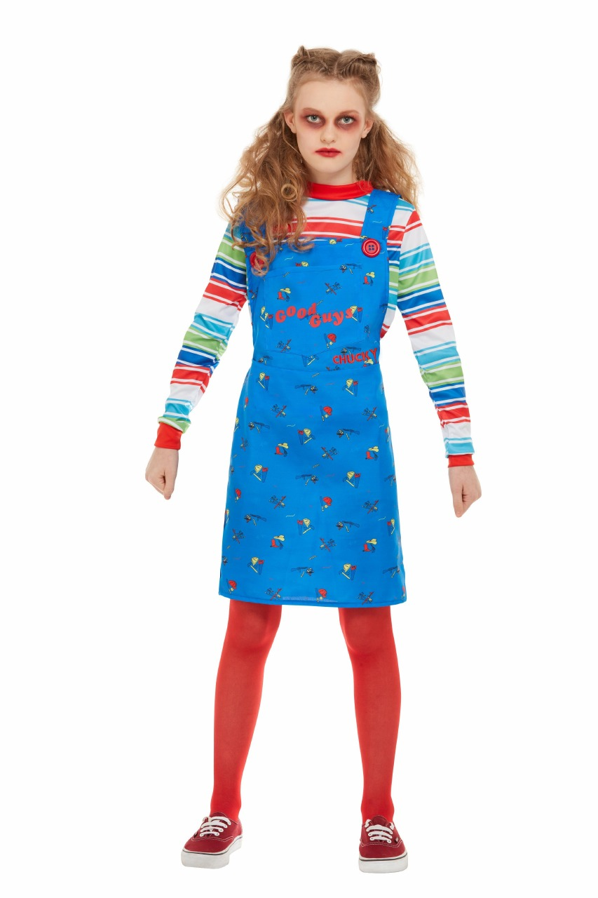 Girls Chucky Doll Costume Kids Horror Chucky Doll Halloween Fancy Dress Children