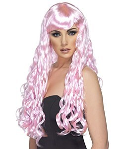 Long Curly Wig Candy Pink