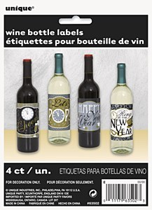 New Year Wine Bottle Labels