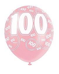 Pink 100th Birthday Balloons