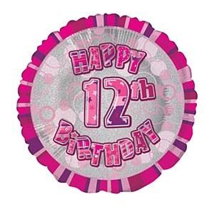 Pink 12th Birthday Balloon