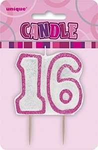 Pink 16th Birthday Candle