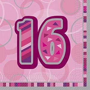 Pink 16th Birthday Napkins