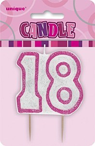 Pink 18th Birthday Candle