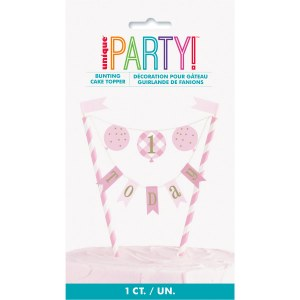 Pink Gingham 1st Cake Topper
