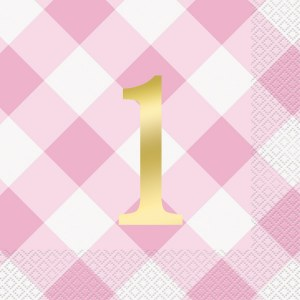 Pink Gingham 1st Party Napkins