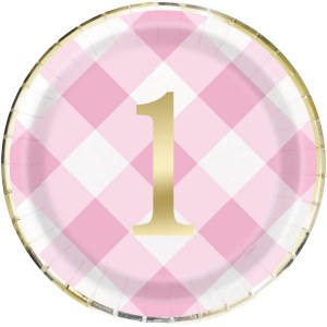Pink Gingham 1st Party Plates