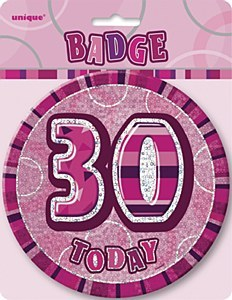 Pink 30th Birthday Badge
