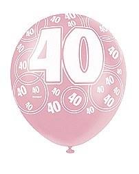 Pink 40th Birthday Balloons