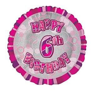 Pink 6th Birthday Balloon