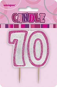 Pink 70th Birthday Candle