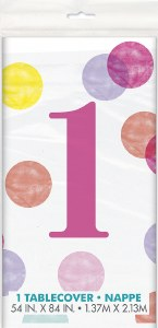 Pink 1st Dots Tablecover
