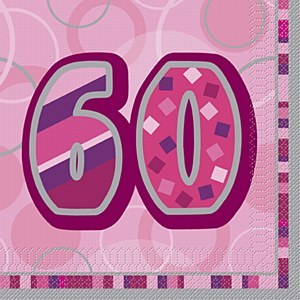 Pink 60th Birthday Napkins
