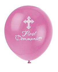 Pink Cross Communion Balloons