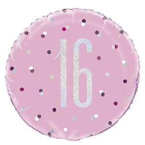 Pink Dot Glitz 16th Balloon