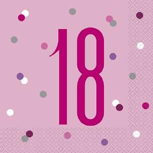 Pink Dot Glitz 18th Napkins