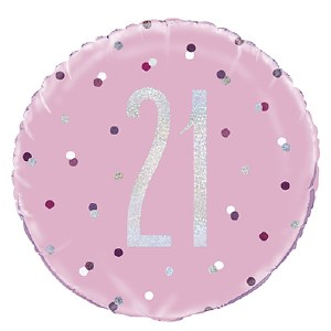 Pink Dot Glitz 21st Balloon