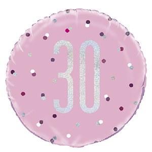 Pink Dot Glitz 30th Balloon