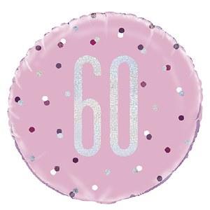 Pink Dot Glitz 60th Balloon