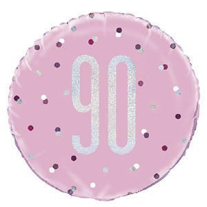 Pink Dot Glitz 90th Balloon