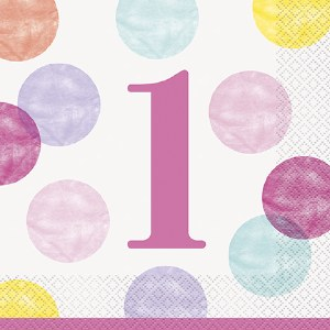 Pink Dots 1st Birthday Napkins