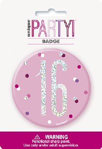 Pink Glitz 16th Badge