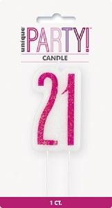 Pink Glitz 21st Candle