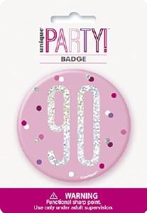 Pink Glitz 90th Badge