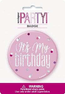 Pink Glitz Birthday Badge