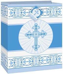 Radiant Cross Blue Gift Bag