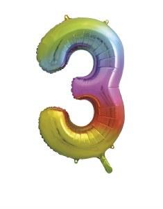 Rainbow No 3 Foil Balloon