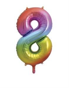 Rainbow No 8 Foil Balloon