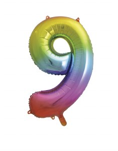 Rainbow No 9 Foil Balloon
