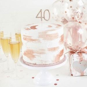 Rose Gold 40th Cake Topper