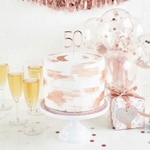 Rose Gold 50th Cake Topper