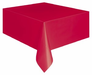 Ruby Red Plastic Tablecover