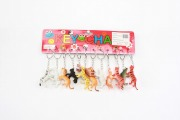 12Pk Safari Animal Keyrings