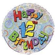 12th Birthday Foil Balloon