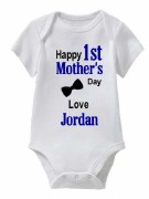 1st Mothers Day Boy Baby Vest