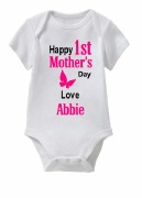 1st Mothers Day Girl Baby Vest