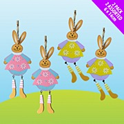2 Pack Of Wooden Bunnies