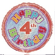 4th Birthday Foil Balloon