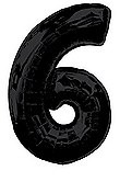 Black Number 6 Balloon